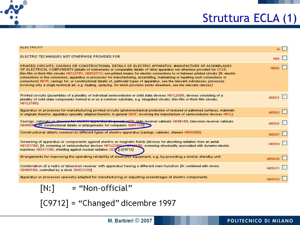 Struttura ECLA (1) [N:] = Non-official